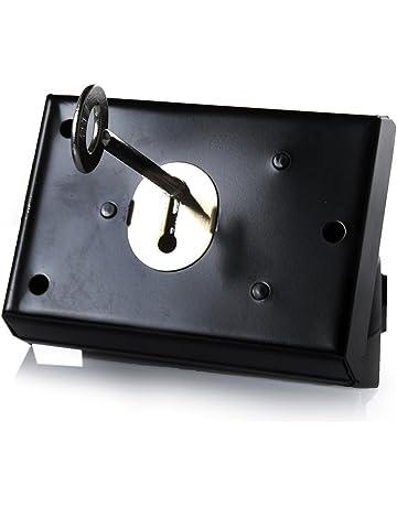 Cerradura tradicional, cerradura de seguridad para montaje en superficie con pestillo, ideal para puertas