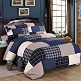 Summer Patchwork Quilt Sets Coverlet Bedspread Shams 3Pcs Reversible Cotton Bedding Set Printing Embroidery Mother's Day Thanksgiving Wedding Christmas Birthday Gift Blue 4Pcs,Full/Queen 90×98''