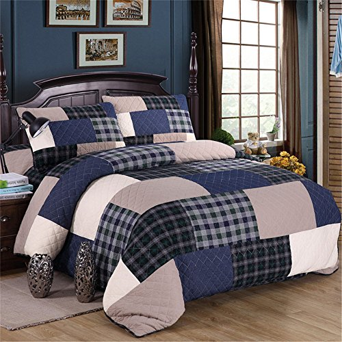 Summer Patchwork Quilt Sets Coverlet Bedspread Shams 3Pcs Re