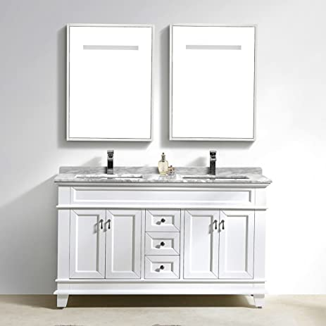 Moreno Fayer 60u0026quot; Double Sink White Bathroom Vanity With Carrara Marble  Top