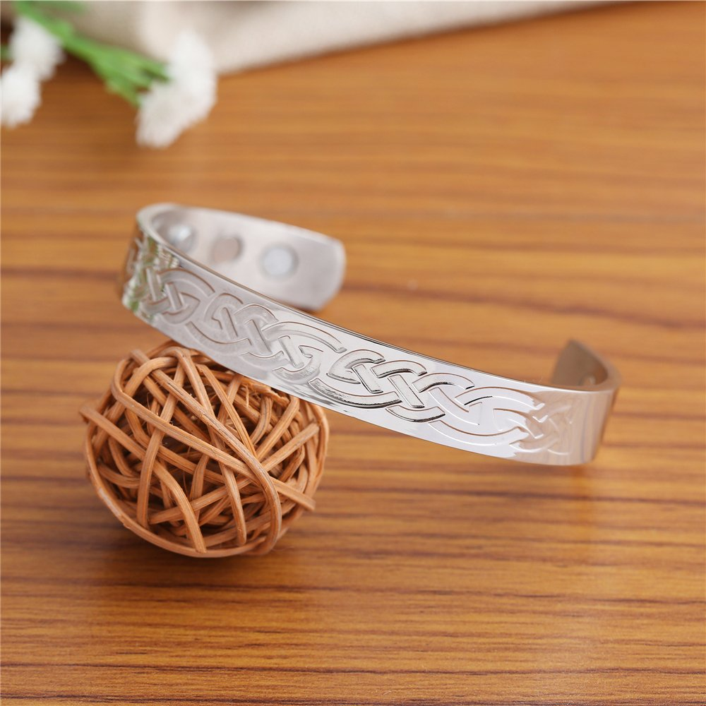 Health Care Magnetic Stainless Steel Bracelet With Irish Knot Pattern Jewelry for Men