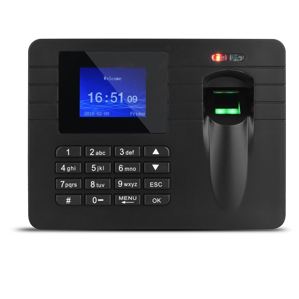 fosa Digital Fingerprint Biometric Assistance Trench Machine, 2.4 Inch TFT Display, U Disk Support, Employee Time Clock Recorder(Us Plug) by fosa