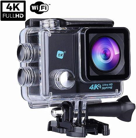 NK NK-AC3061 - Cámara Deportiva Subacuática 4K (Ultra-Alta Definición) HD 16MP, WiFi, Carcasa Impermeable 30M, 170º Gran Angular, Sensor Ultra-Avanzado Toshiba, 900mAh, HDMI USB, Negro: Amazon.es: Deportes y aire libre