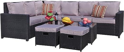 YAKOE Papaver Serie Jardín de Invierno 8 plazas ratán sofá Lounge Set Muebles de Jardín Exterior, Negro, 195 x 71 x 85 cm: Amazon.es: Jardín