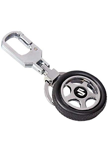 Easy4buy Spinning Tyre Rotary Wheel Locking Metal Keychain Keyring Key Ring Key Chain Maruti Suzuki