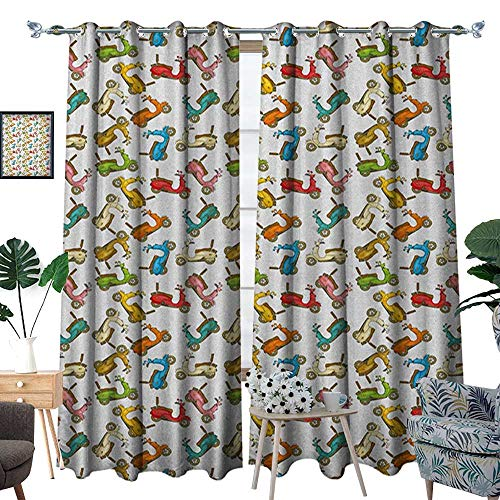 Crewel Drape - Motorcycle Thermal Insulating Blackout Curtain Famous Moped Bikes in Cartoon Style Retro Italian Scooters Patterned Drape for Glass Door W96 x L84 Multicolor