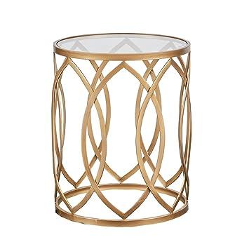 amazon com modern glam metallic gold metal glass round accent table