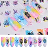 POYING Full Beauty 1 Sets Gradient 12 Designs Watercolor Owl Feather Charms Sticker Nail Art Decorations Water Tattoos Tips CHBN409-420