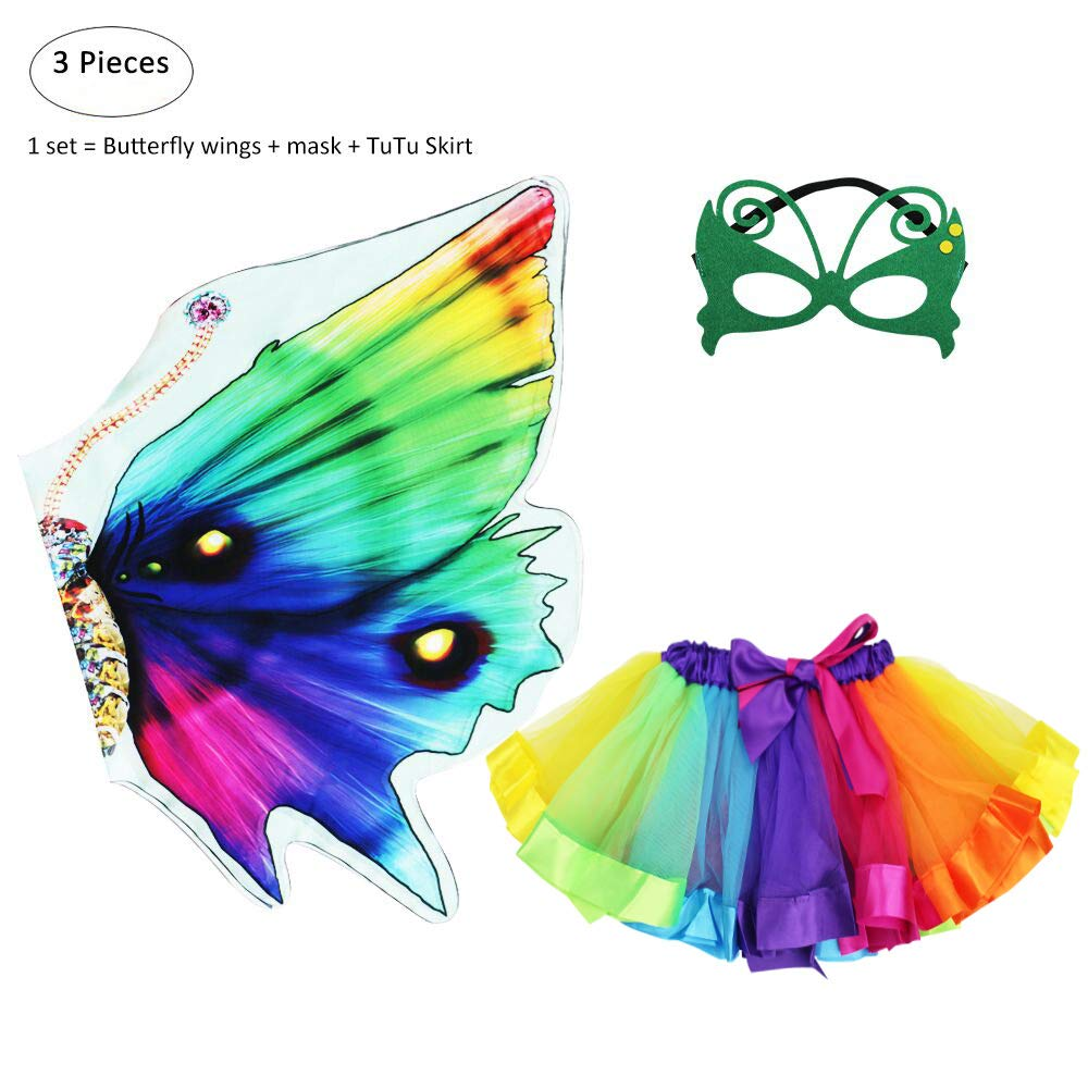 Kids Fairy Butterfly Wings Costume and Mask with Rainbow Tutu Dress up for Girls Pretend Play Party Favors D.Q.Z