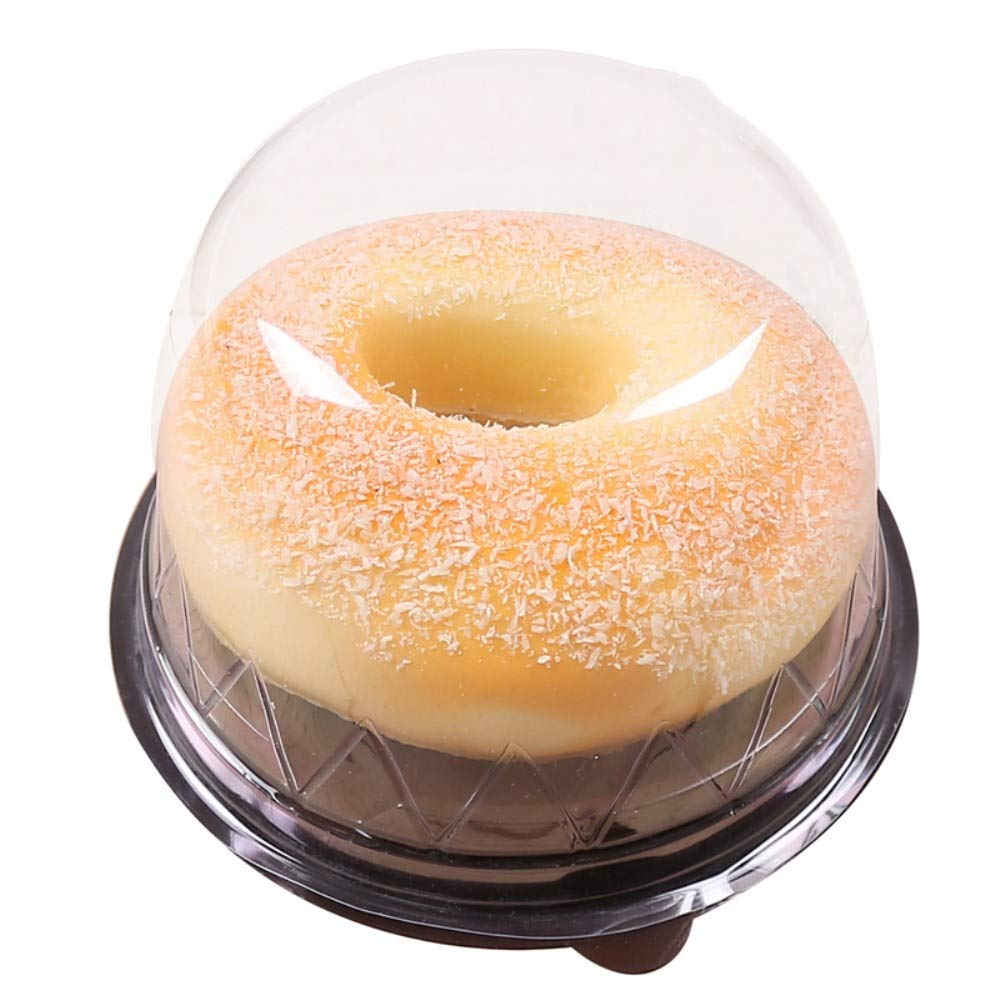 BBC 3 Inch High Dome Plastic Cake Box, Transparent Round Lids, 4.3X3.1 Inch, 50 Counts, Black Color by BBC Bakery (Image #1)