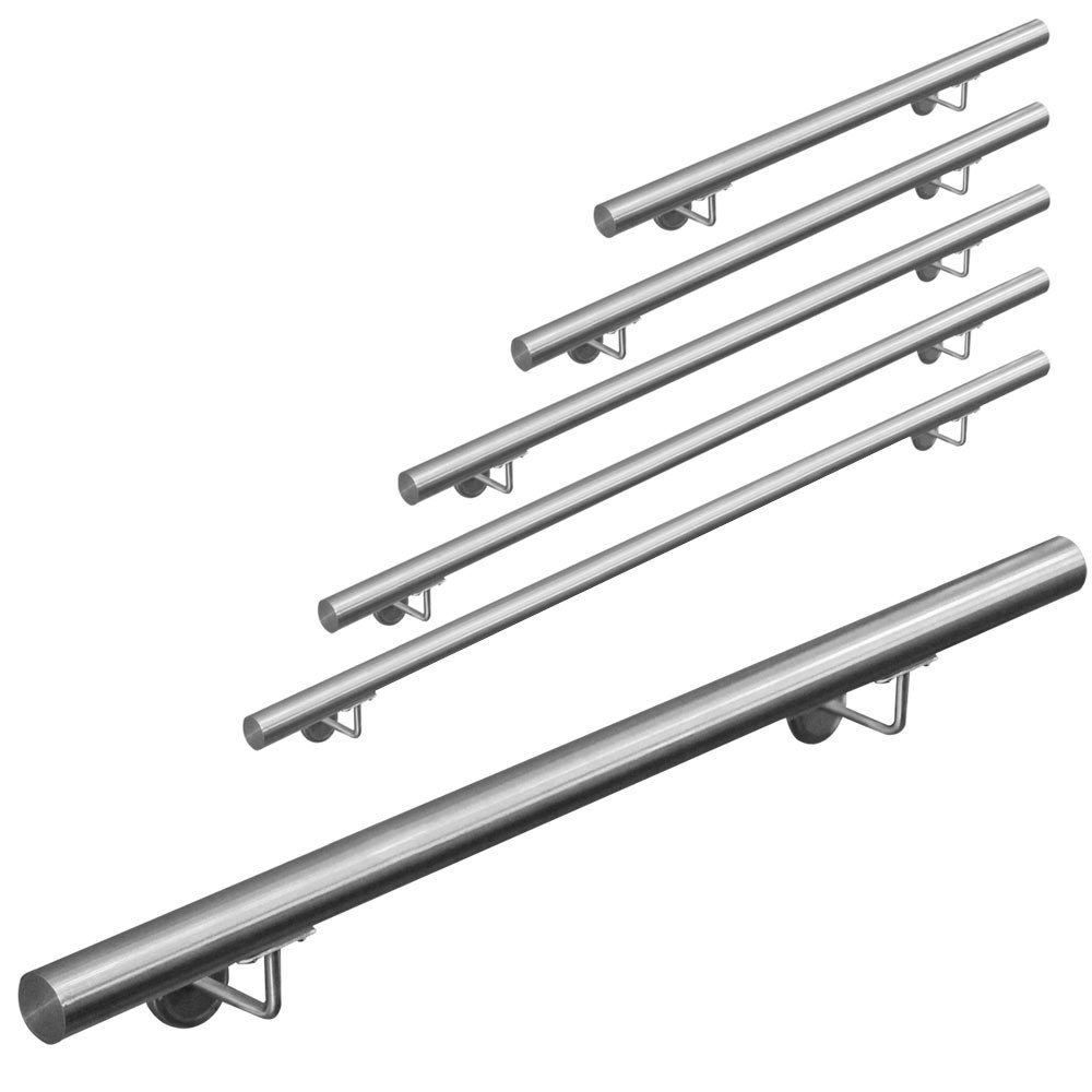 Stainless steel 304 handrail stair railing handrail wall handrail wall stairs on Assembly 50-600 cm V2Aox Length:190 cm