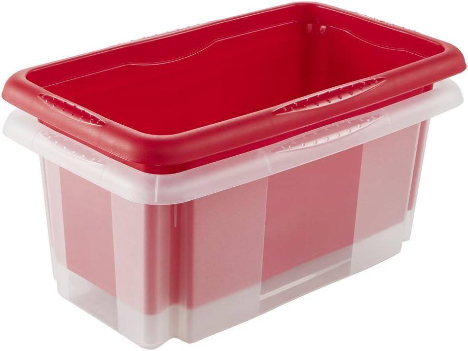 keeeper Caja de Almacenaje con Sistema de Apilado, 35 x 20,5 x 15 cm, 7 l, Emil, Transparente: Amazon.es: Hogar