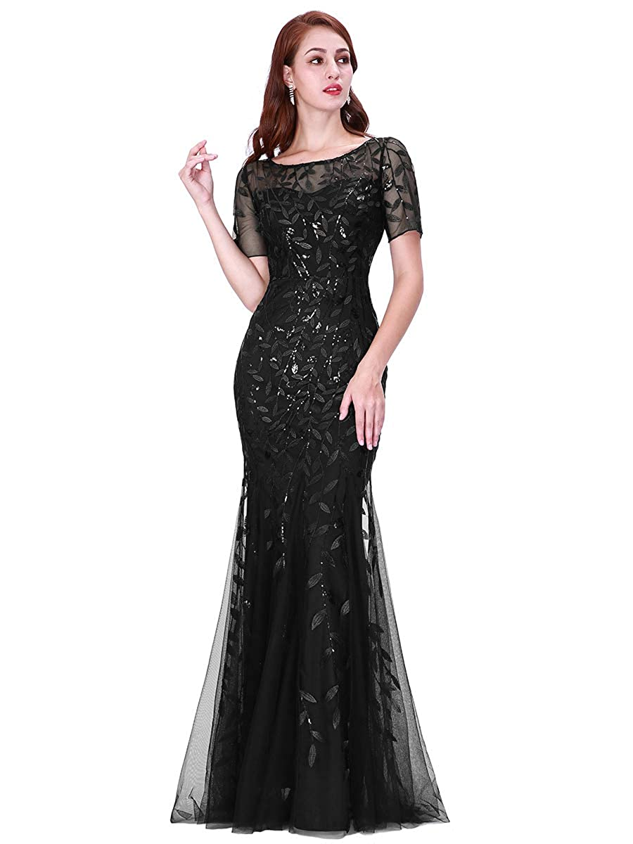1950s History of Prom, Party, and Formal Dresses Ever-Pretty Womens Illusion Embroidery Elegant Mermaid Evening Dress 07707 $50.99 AT vintagedancer.com