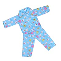 BAOBLADE Bear Printed Pajamas Nightwear Suit for 18'' American Girl Our Generation Zapf Baby Born Dolls Outfit Blue
