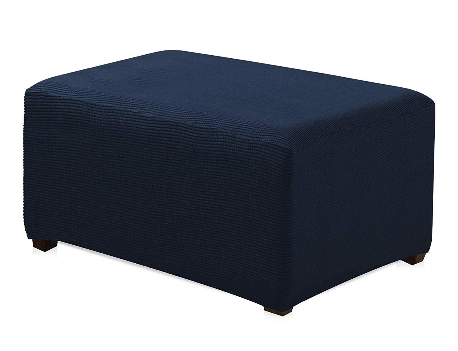 Orly's Dream Spandex Pique Stretch Fit Rectangle Storage Ottoman Furniture Cover Slipcover (Navy Blue) Orly'sDream