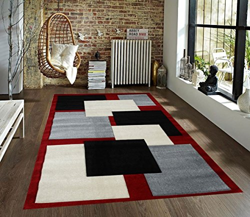 Red Hand Block (Homemusthaves Black Grey White Red New Modern Contemporary Geometric Vegas Blocks Hand-Carved Area Rug Carpet)