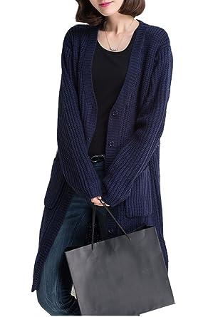 premium selection 94ed3 d5d1a BININBOX® Damen lang Strickjacke mit Knopfen und Taschen V ...