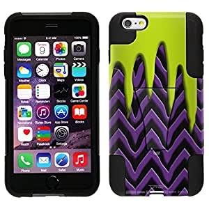 Trek Hybrid Stand Case for Apple iPhone 6 Plus - Lime Green Slime on Purple and Black Chevron