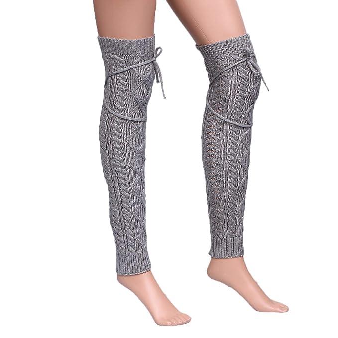 BESTOYARD Calentadores de pierna calcetines grueso invierno para mujeres (Gris claro)