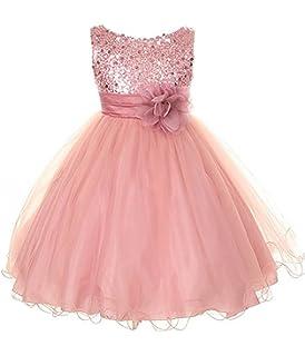 6f93ab7454c Amazon.com  Kid s Dream Girl s Dusty Rose Sequin Bodice Mesh Girl ...