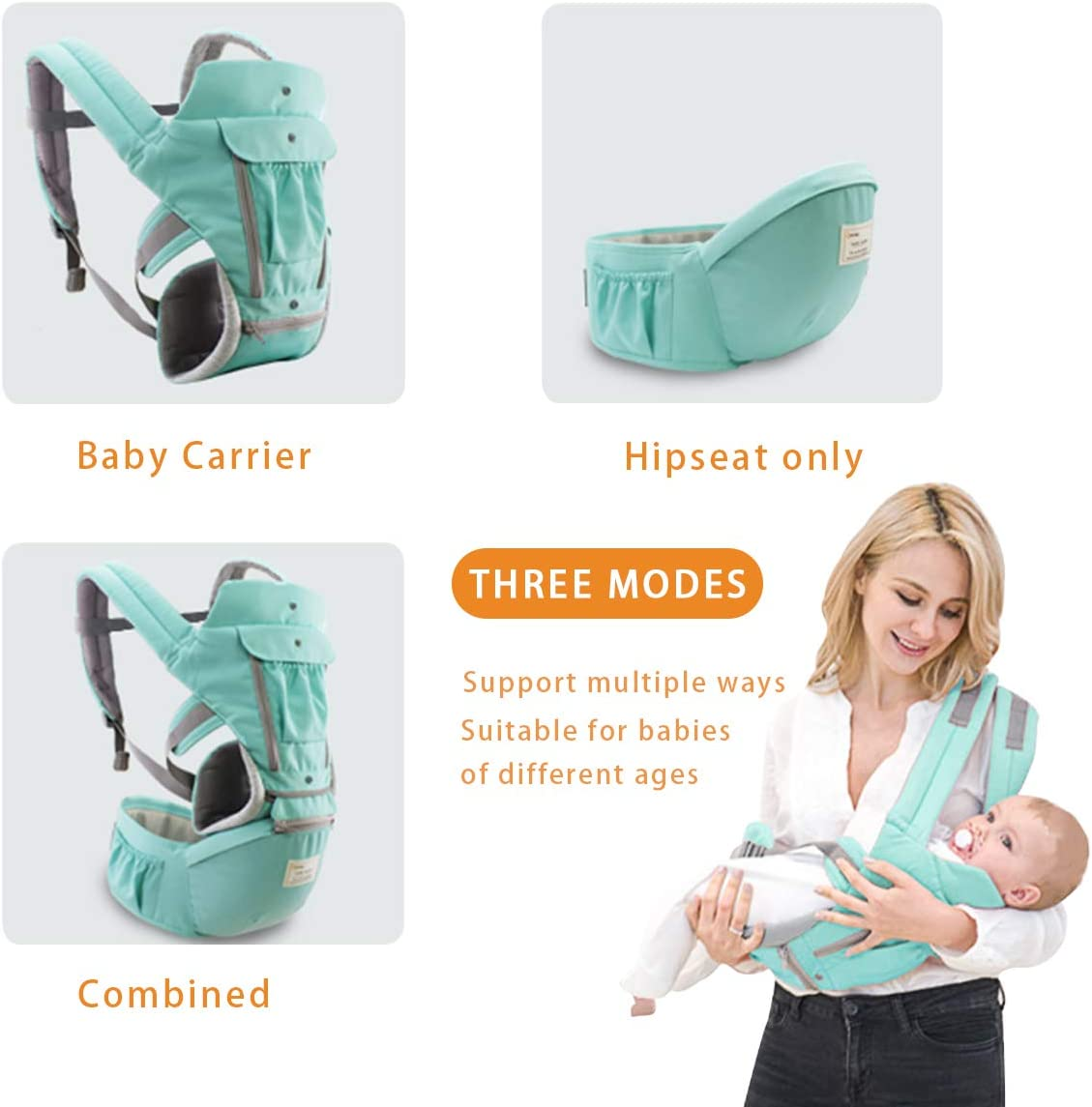 Portador de beb/é,Anverso y Reverso,100/% Algod/ón,Ergon/ómica Azul Tama/ño Libre,100/% GARANTIZADO y ENTREGA GRATUITA SONARIN 3 en 1 Multifuncional Hipseat Baby Carrier Ideal Regalo