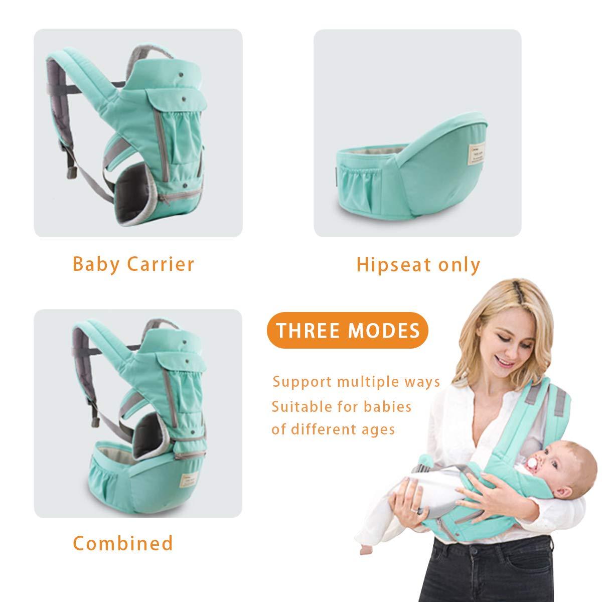 Tama/ño Libre,100/% GARANTIZADO y ENTREGA GRATUITA Azul Portador de beb/é,Anverso y Reverso,100/% Algod/ón,Ergon/ómica SONARIN 3 en 1 Multifuncional Hipseat Baby Carrier Ideal Regalo