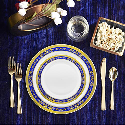 Set of 32 Disposable Dinner Plates Bundle Combo (Floral Blue/Gold)