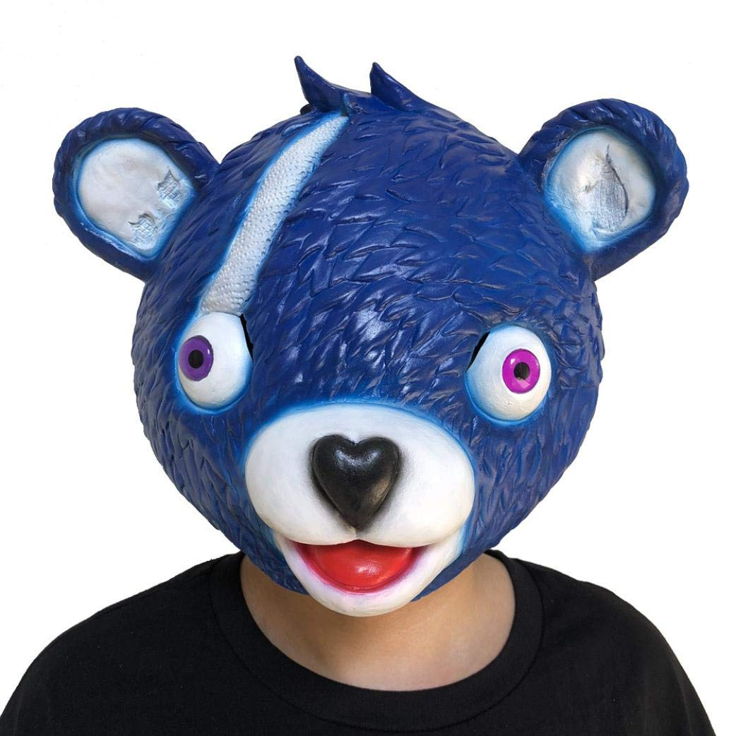 Wenjuan Large Pink Bear Spoof Game Mask Melting Face Adult Latex Costume Cuddle Team Leader Bear Cosplay Toy (Blue)