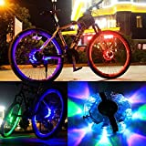 Bike Wheel Lights Rechargeable (2 Pack), SWINCHO Waterproof LED Cycling Hub Lights, RGB Colorful Bicycle Spoke Lights for Safety Warning and Decoration