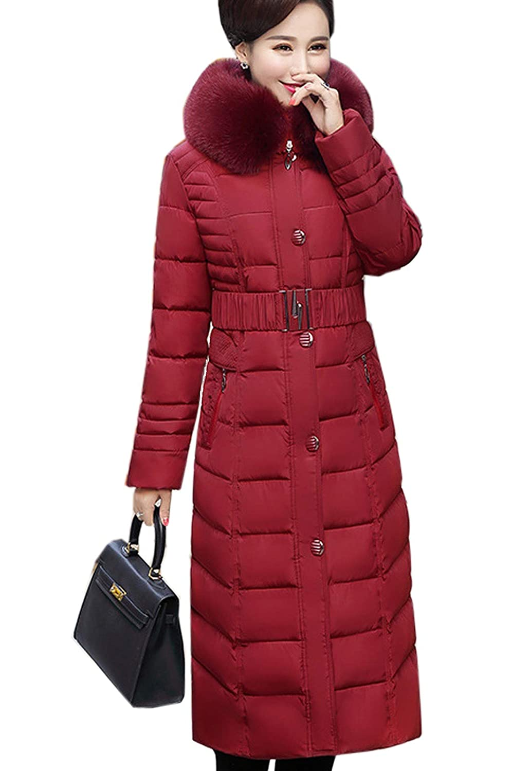 Flygo Women's Winter Warm Faux Fur Hooded Down Coat Parka Outcoat Puffer Jacket