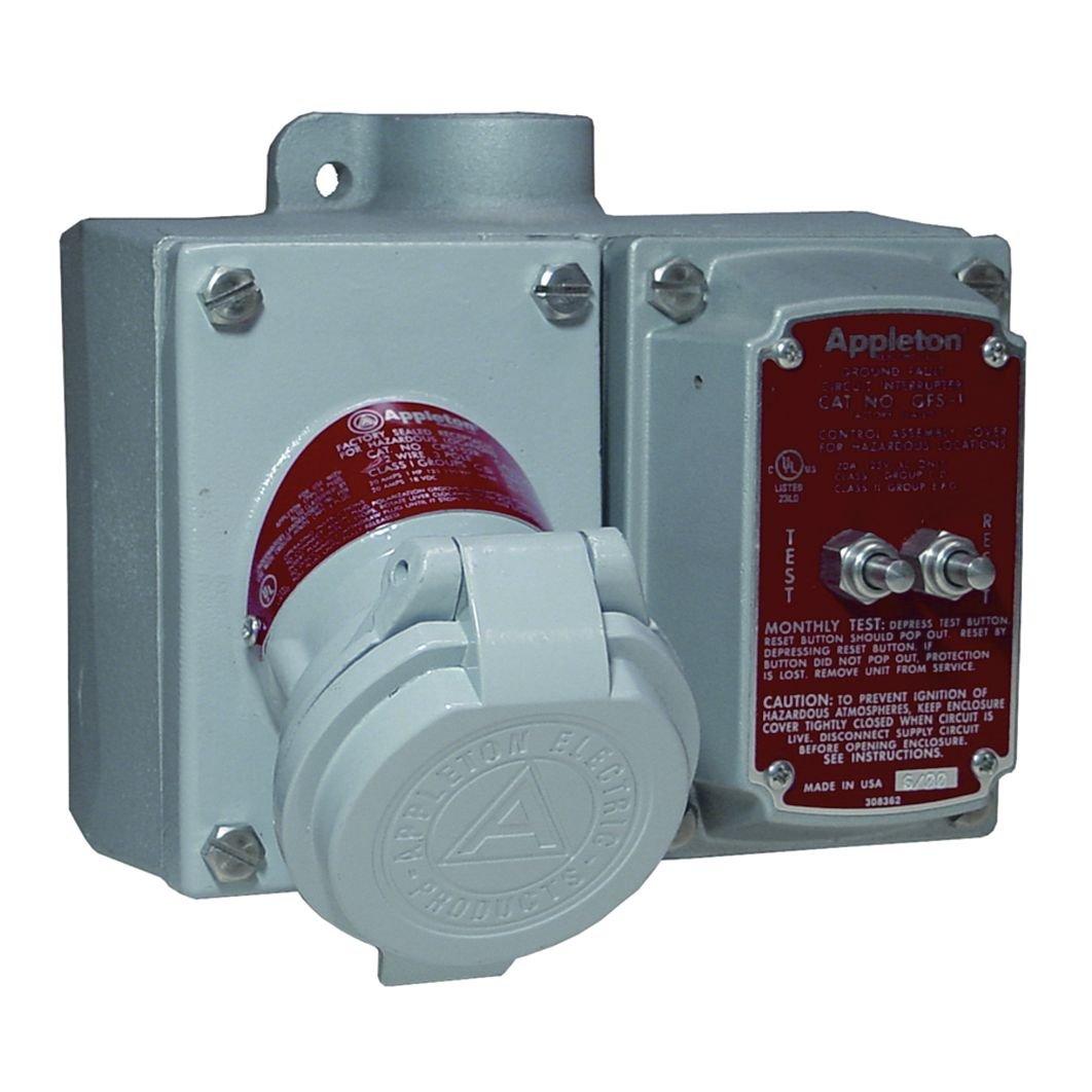 Appleton EFSC275A-2023GFI GFI Receptacle Box, 125V, 20 Amp, FT, Aluminum, 3/4'' Hub