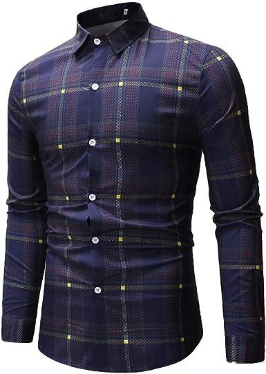 Sencillo Vida Camisas Cuadros Hombre Clásico Manga Larga Camisas de Hombre de Vestir Slim Fit Camisa Hombres Casual Formales Delgada Cuello de Solapa con Botones Plaid Camiseta: Amazon.es: Ropa y accesorios
