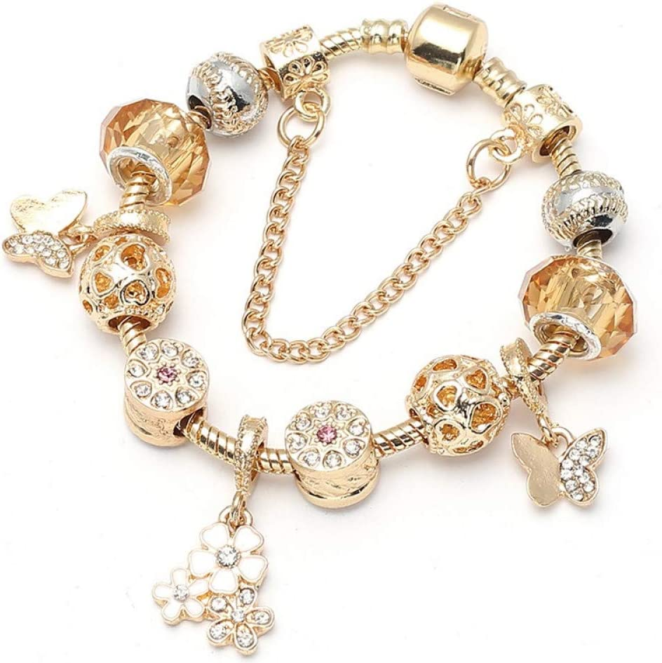 Delicate girl-shouzhuo Color Oro Charm Bracelet Bangle Y para Las Mujeres Pulsera De Perlas De Vidrio De Murano FNE Bricolaje Regalo De Cumpleaños