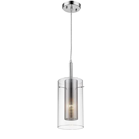 Claxy ecopower chrome with clear glass cylinder pendant lighting claxy ecopower chrome with clear glass cylinder pendant lighting fixture aloadofball Images
