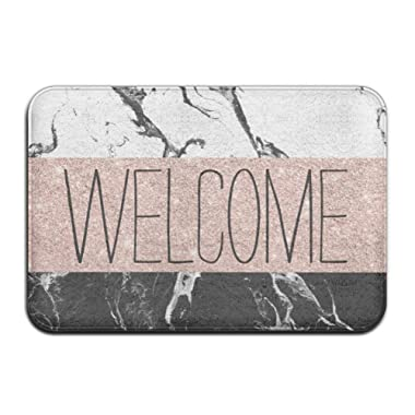Gaojiapei Black White Marble Rose Gold Color Block Stripes Super Absorbent Anti-Slip Mat,Funny Doormat,Indoor/Outdoor Decor Rug Doormat 23.6(L) X15.7(W) Inch Non-Slip Home Decor