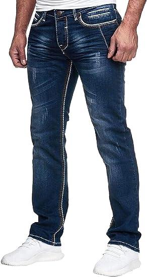 Qiangjinjiu メンズ ヴィンテージ モト バイカー ジーンズ ウォッシュド デニム ストレート フィット ストレッチ ファッション パンツ