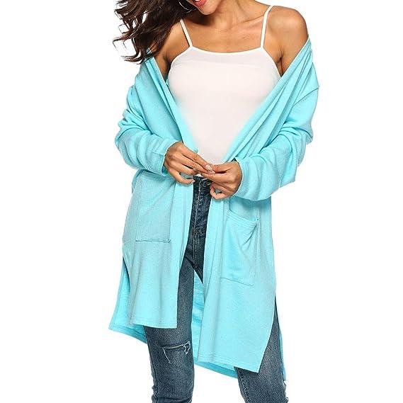 Moda Mujer otoño Casual Manga Larga Bolsillos mantón Irregular Blusa Superior Prendas de Vestir Exteriores: Amazon.es: Ropa y accesorios