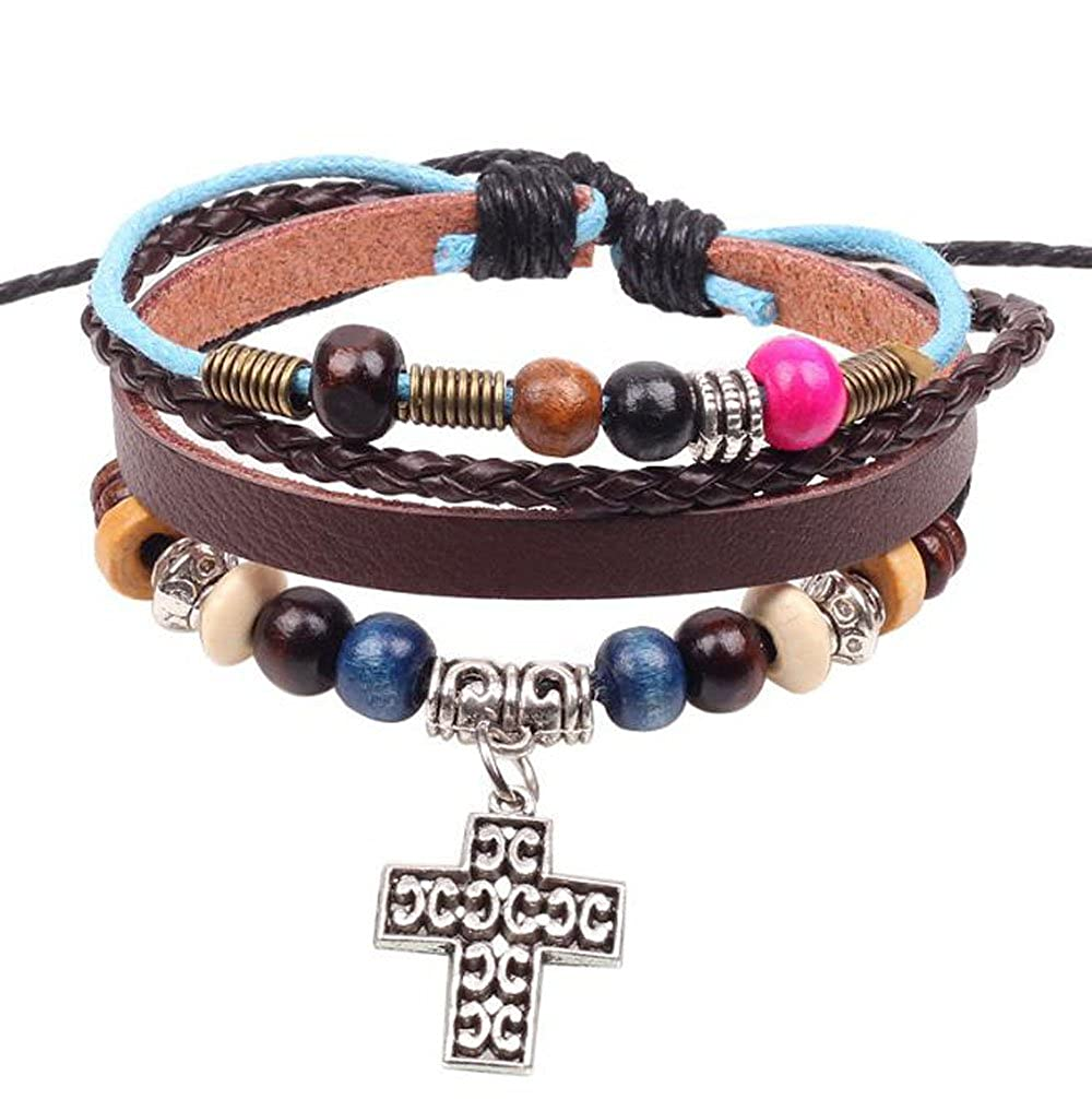 Grenf/® Fashion Retro Multilayer Rope Leather Hand Woven Letter Cross Beaded Bracelet Bangle Hollow Circle Cross Rope Winding Bracelet