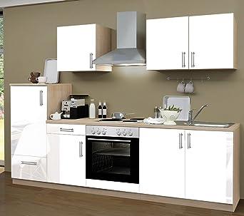 Küchenzeile 270 Cm Komplett Küche Lack Weiß Mit Kühlschrank Herd