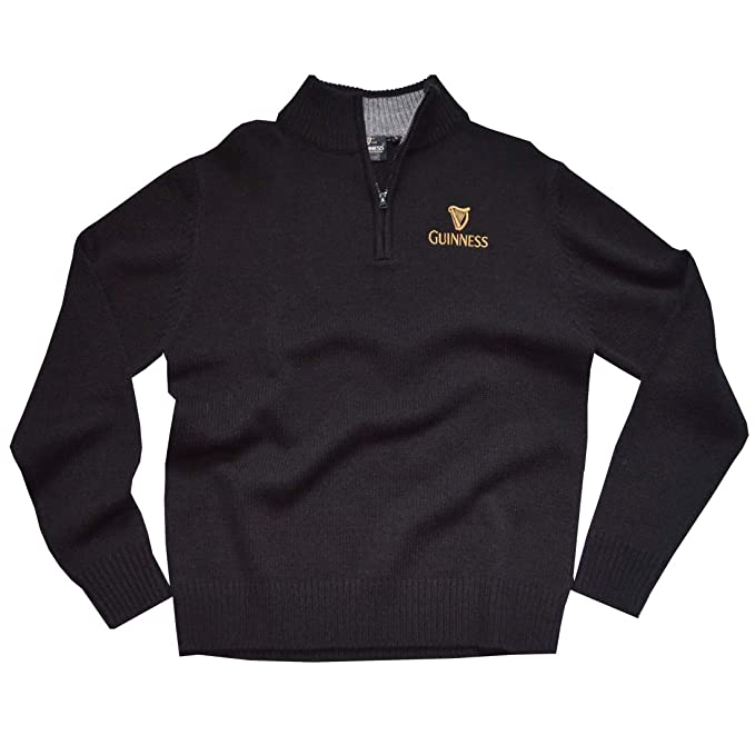a2e6902559cf Guinness Official Half Zip Up Sweater With Embroidered Gold Harp ...