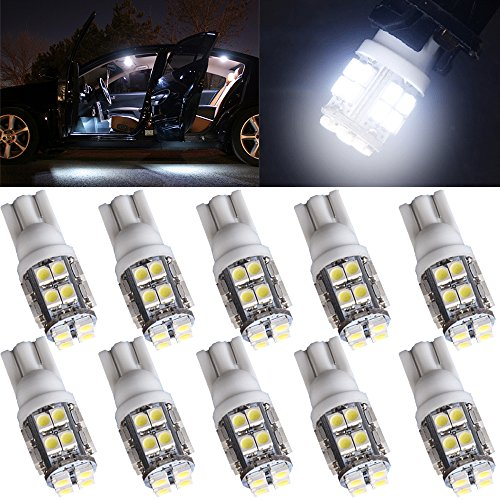 cciyu 194 Extremely Bright LED Bulbs 20-3528-SMD fit for Interior Lights Map Light Step/Courtesy/Door Light Glove Box LightInstrument Panel Light Wedge T10 168 2825 W5W White Bulbs Pack of 10