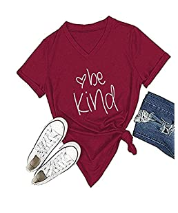 Women Be Kind Blessed Retro Novelty Graphic Short Sleeves Round Neck Casual Tees Tops Blouses T Shirts M