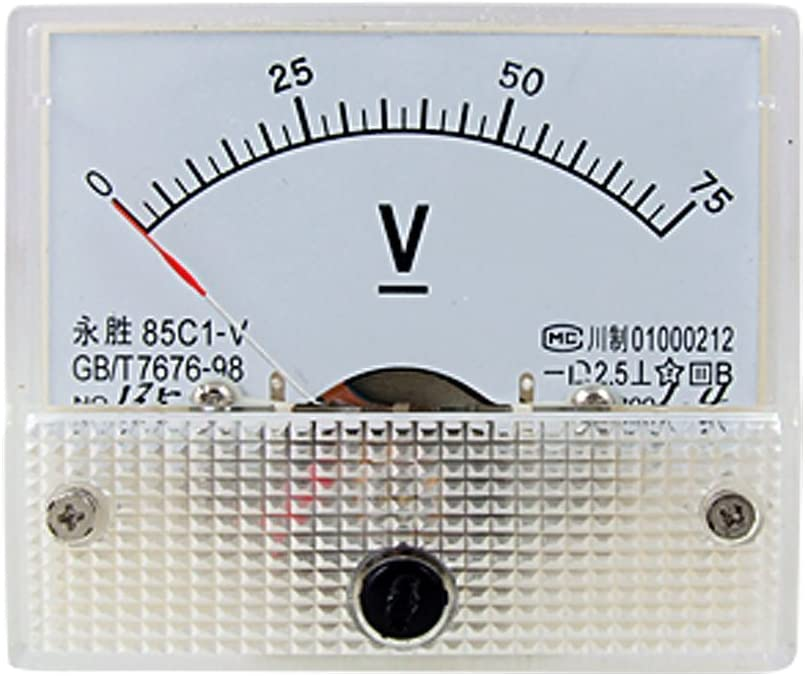 Baomain Analog Voltmeter 85C1 DC 0-75V Rectangle Analog Volt Panel Meter Gauge