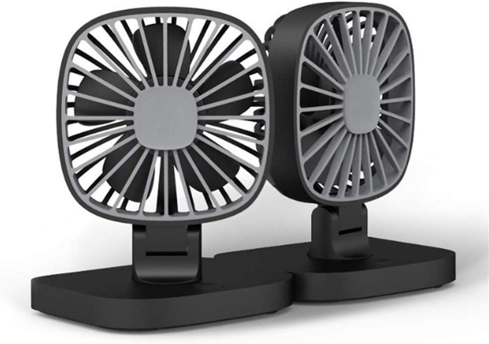 Air Cooler USB 12V Portable Car Fan Air Conditioning Cooler Desktop Mini Automotive Stand Ventilator Refrigeration Color : Black, Size : Double Fans