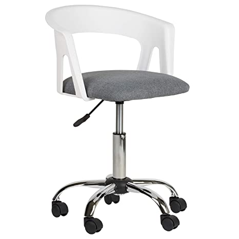 Chair With Wheels >> Hartleys Adjustable Chair With Wheels Chrome Base White Seat Grey Cushion