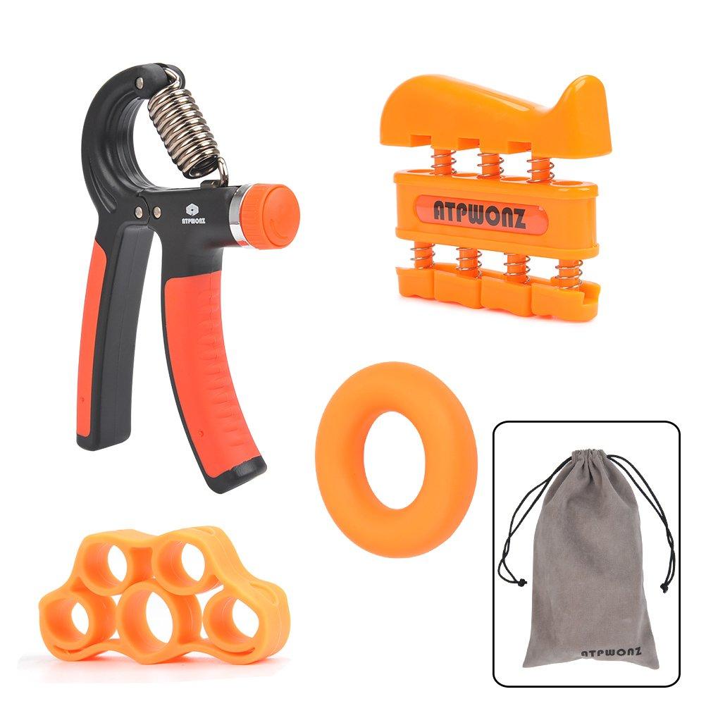 Finger Stretcher /& Exercise Ring for Athletes and Musicians Adjustable Hand Gripper Resistance Range of 22-88lbs Finger Exerciser ATPWONZ 4Pcs Hand Grip Strengthener Workout Kit