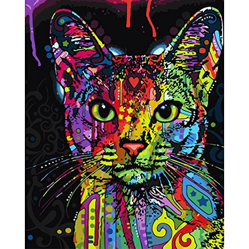 JynXos Framed Colorful Cat DIY Painting By Numbers Abstract Modern Wall Art Picture Kits Coloring Painting By Numbers For Home Decor
