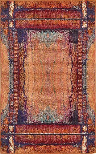 Unique Loom Estrella Collection Modern Abstract Orange Area Rug (5' 0 x 8' 0)