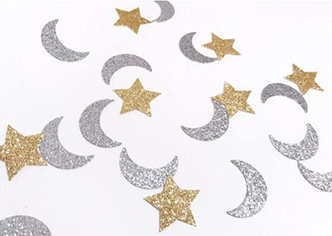 Silver Gold 3mm Star Moon Heart Sequin Glitter Party