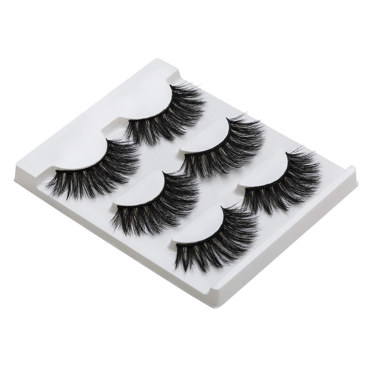 DYSILK 3D Eyelashes Dramatic Look False Eyelashes Extension Makeup Long Handmade Fake Eyelashes Fluffy Soft Reusable Black 3 Pairs